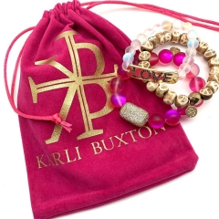 Custom Pink Jewelry Pouch with Logo